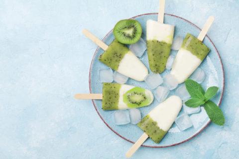 Kiwi Popsicles Sans Lactose
